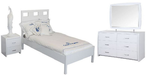 CRONULLA DOUBLE OR QUEEN 5 PIECE DRESSER   BEDROOM SUITE WITH WAVERLEY CASE GOODS - HIGH GLOSS WHITE