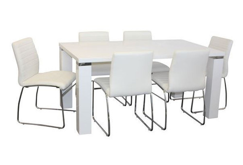 WAVERLEY CHUNKY LEGS  7 PIECE DINING SET  WITH COOGEE CHAIRS - 1600(L) X 900(W) - WHITE