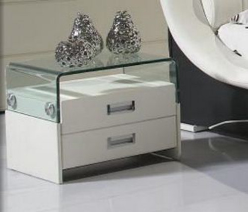 VERO (11-18-9-19) 2 DRAWERS GLASS TOP BEDSIDE