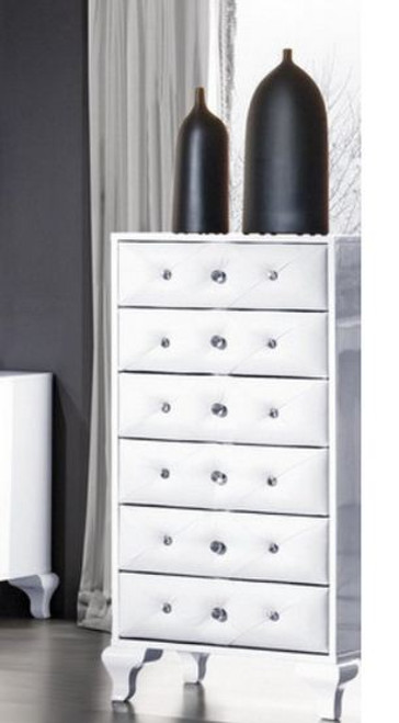 KEVIN (8-1-23-1-9-9) 6 DRAWERS TALLBOY -  GLOSS WHITE