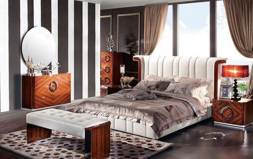 JUPITER  KING 4 PIECE BEDROOM  SUITE - PU & GLOSS MDF