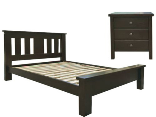 EMERALD QUEEN 3 PIECE   BEDSIDE BEDROOM SUITE - WENGE