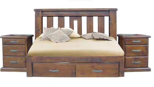 Mt. ISA QUEEN (2078) 3 PIECE BEDSIDE BEDROOM SUITE WITH 2 FOOTEND STORAGE DRAWERS - ROUGH SAWN