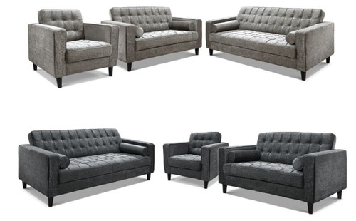RITZ 3 + 1 + 1 SEATER  FABRIC UPHOLSTERED LOUNGE SUITE - ASSORTED COLOURS