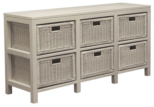 FERNARY (SB006RT) RATTAN STORAGE UNIT WITH 6 DRAWERS - WHITE