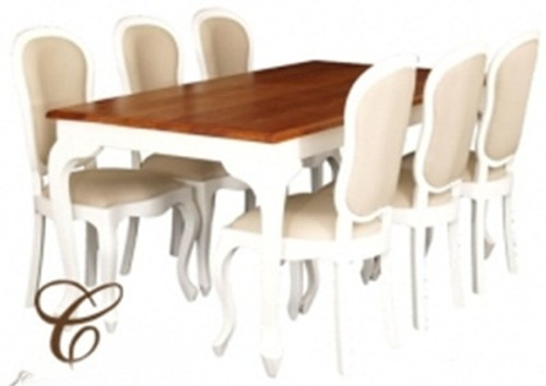 QUEEN ANN 7  PIECE DINING SETTING   (DT 180 90 QA + 6 CHAIRS) - 1800(L) x 900(W) - ALL WHITE, TWO TONED OR MAHOGANY