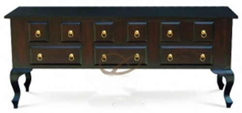 QUEEN ANN (ST 009 QA) 9 DRAWER SOFA TABLE - 760(H) X 1800(W) X 400(D) - MAHOGANY OR CHOCOLATE