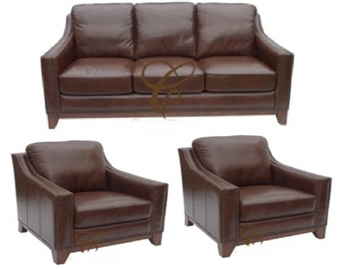 BOSTON 3S + 1S + 1S - 100% COW LEATHER LOUNGE SUITE - CHOCOLATE
