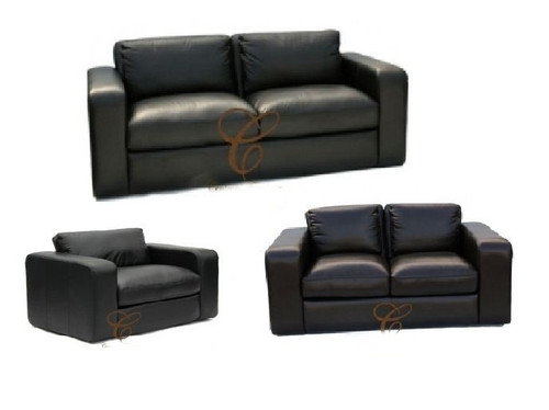 JOH 3S + 2S+ 1S 100% COW LEATHER LOUNGE SUITE - ASSORTED COLOURS