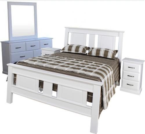 JINDABYNE DOUBLE OR QUEEN  5 PIECE   DRESSER BEDROOM SUITE WITH DOONA FOOT BED  - WHITE