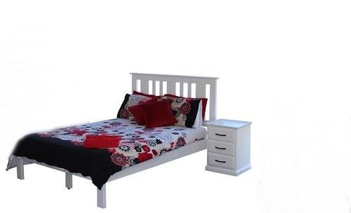 JINDABYNE KING 3 PIECE   BEDSIDE BEDROOM SUITE WITH DOONA FOOT BED  - WHITE