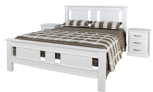 JINDABYNE DOUBLE OR QUEEN  3 PIECE   BEDSIDE BEDROOM SUITE WITH DOONA FOOT BED  - WHITE