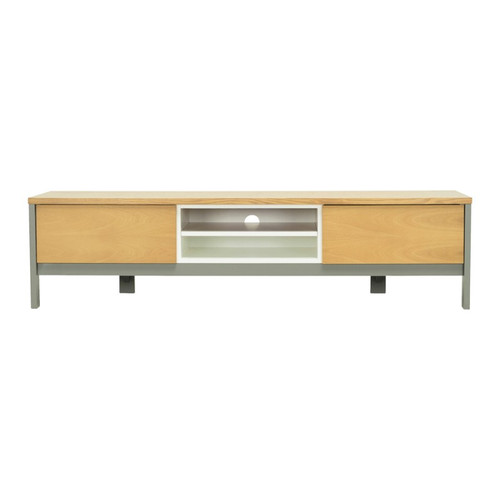 JARVY  ENTERTAINMENT UNIT  WITH 2 STORAGE CUPBOARDS -  1860(W) - NATURAL /  GREY LACQUERED