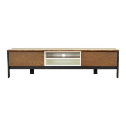 JARVY ENTERTAINMENT UNIT  WITH 2 STORAGE CUPBOARDS -  1860(W) - COCOA / EBONY