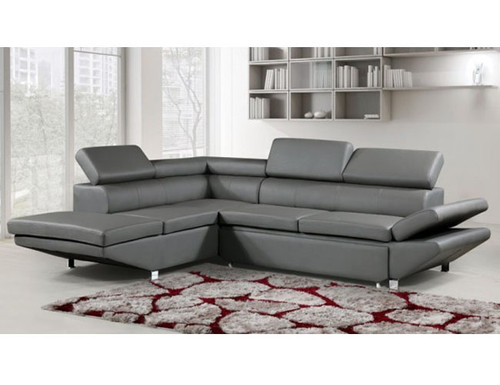 PRESTIGE  3 SEATER LEATHER LEFT CHAISE LOUNGE SUITE (MLC-8869L-GREY)  - GREY