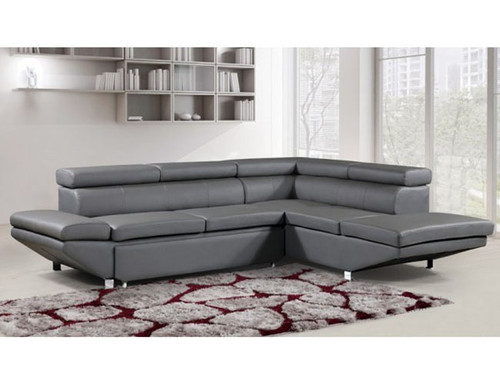 PRESTIGE  3 SEATER LEATHER RIGHT CHAISE LOUNGE SUITE (MLC-8869R-GREY)  - GREY
