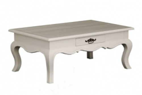 FRENCH PROVINCIAL  2 DRAWER COFFEE TABLE (CT 002 FP) - 400(H) x 900(W) x 600(D) - WHITE