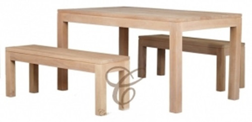 AMSTERDAM (DT 150 90 TA SET (WS) )  DINING TABLE  WITH 2 BENCHES - 1500(W) x 900(D) - WASHED