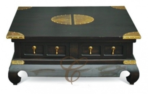 CHINESE  4 DRAWER  COFFEE TABLE ( CT 004 TS CSN ) - 400(H) x 1000(W) x 1000(D) - MAHOGANY OR CHOCOLATE