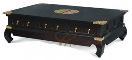 CHINESE  6  DRAWER  COFFEE TABLE (  CT 006 CSN) -400(H) X 1500(W) X 1000(D) - MAHOGANY OR CHOCOLATE