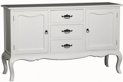 FRENCH PROVINCIAL - 2 DOOR 3  DRAWER  BUFFET (SB 203 FP  )  930(H) X 1540(W) - WHITE