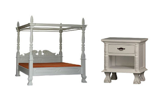 JEPARA   KING 4 POSTER 3 PIECE BEDSIDE BEDROOM SUITE  - WHITE (MADE TO ORDER )