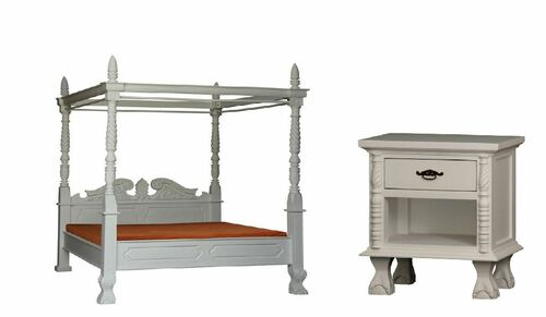 JEPARA QUEEN  POSTER 3 PIECE BEDSIDE BEDROOM SUITE  - WHITE