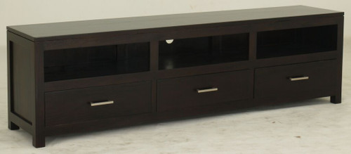 PARIS  3  DRAWER LOW ENTERTAINMENT UNIT (SB 003 PNMK ) - 1900(W)  - CHOCOLATE