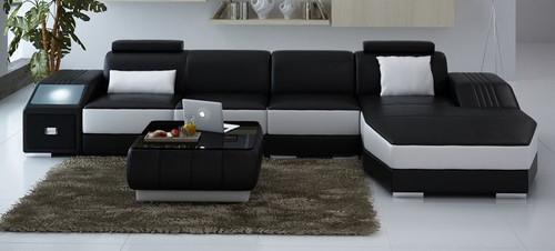 NARVIS CHAISE LOUNGE SUITE  WITH COFFEE TABLE  (MODEL - L6008C) - CHOICE OF LEATHER AND ASSORTED COLOURS AVAILABLE