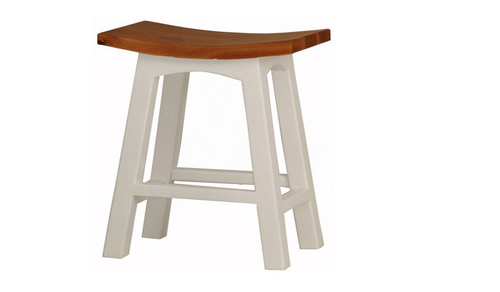 REGAL TWO - TONED WOODEN BAR STOOL - SEAT: 770(H) (BR 077 WD) - WHITE / CARAMEL