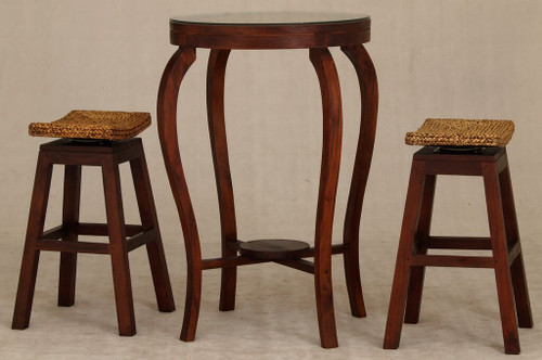 ORNAMENT BAR TABLE  WITH 2x STOOLS  - 1000(H) * 700(D) - MAHOGANY
