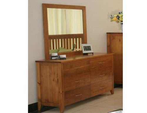 DAKOTA 6 DRAWER DRESSING  TABLE WITH MIRROR  ( MODEL - 4-5-22-15-14-16-15-18-19) - 800(H) X 1400(W) - CHESTNUT OR WALNUT