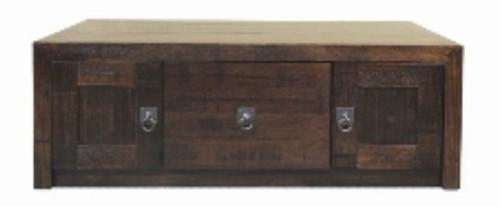 ASIDA 1200(W)   COFFEE TABLE  WITH 2 DOOR - (MODEL - 2-21-3-3-15-12-9-3) - 420(H) X 1200(W) X 750(D)  RUSTIC