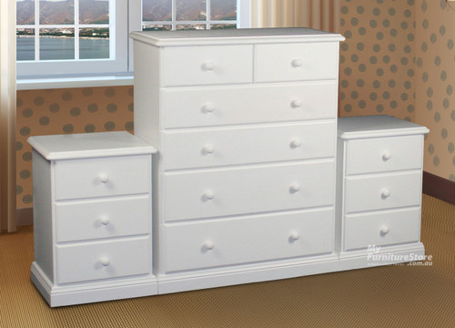 SIERRA (CSA103/306) 3 PIECE CHEST SET (MODEL 19-1-22-1-14-14-1-8) - ASSORTED TIMBER COLOUR STAINS (NOT AS PICTURED)