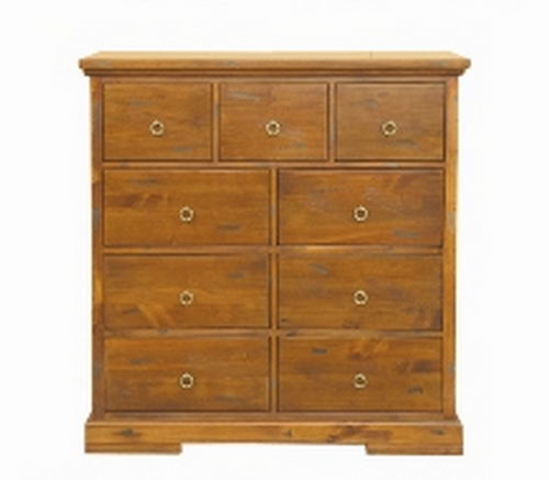 DONSILIA  9  DRAWER TALLBOY ( MODEL- 11-1-11-1-4-21 )  - RUSTIC