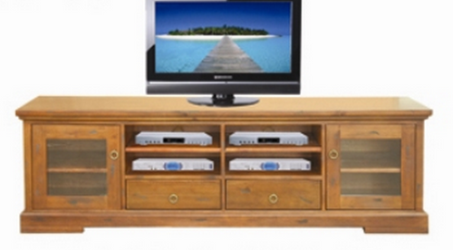 DONSILIA LOWLINE TV  ENTERTAINMENT UNIT  WITH 2  DOOR & 2  DRAWER - ( MODEL- 11-1-11-1-4-21 )  -  2000(W) -  RUSTIC