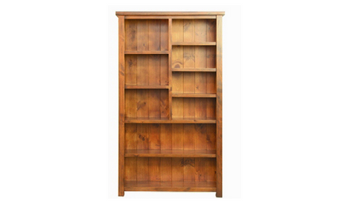 ALANZO 7 x 4 STAGGERED BOOKCASE - 2000(H) * 1200(W)  - (  MODEL -11-1-13-2-5-18-12-25)   - RUSTIC