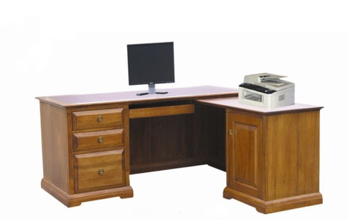 CHURACHS   DESK  WITH RETURN  -  ( MODEL -1-19-8-20-15-14) -1800(W) X 750(D) - AVAILABLE IN COTTAGE TEAK  OR  ALMOND