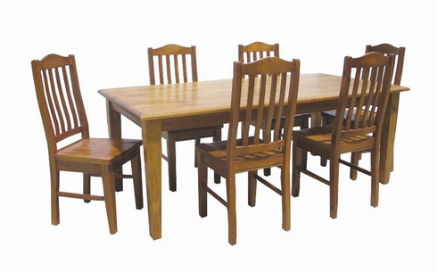 MUNDE ( 5*3)  7 PIECE  DINING SETTING - 1500(W) X 900(D) - (MODEL22-9-3-20-15-18-9-1) AVAILABALE IN CHESTNUT OR WALNUT