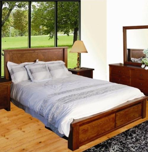 QUEEN DUOLYN AMERICAN OAK BED (MODEL16-1--1-13-15-21-914-20)  - WARM TEAK