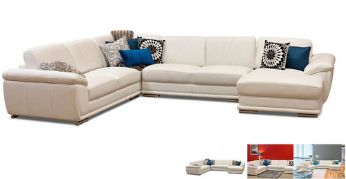 LADINO  5  SEATER LEATHER  RHF  OR LHF CHAISE LOUNGE SUITE   ( MODEL - 19-1-13-19-15-14) - ASSORTED COLOURS