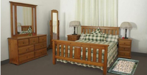LUNAMIS QUEEN 4 PIECE TALLBOY BEDROOM SUITE  - (MODEL 3-8-1-12-20-15-14) -  AVAILABLE IN CHESTNUT OR WALNUT