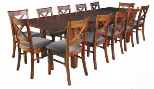 DUOLYN  EXTENSION  DINING TABLE ONLY (NOT AS PICTURED) - (MODEL16-1-18-1-13-15-21-914-20) - 1800 - 3460(W) X 1000(D) - WARM TEAK