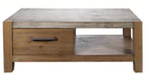 MIDWEST  ACACIA  COFFEE TABLE -  WITH DRAWER  -450(H) X 1200(W) X 600(D) -  CEMENT TOP