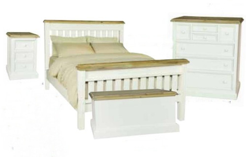 BARRITZ QUEEN 4 PIECE TALLBOY BEDROOM SUITE -  2  TONE BED - WEATHERED OAK / ICED WHITE