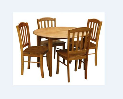 ALPHINE 5 PIECE ROUND DROPSIDE DINING SETTING - 1050(D) - ANTIQUE OAK