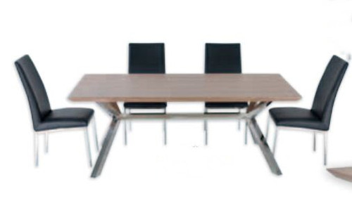 NORDIC DINING TABLE ONLY - 2000(W) X 1000(D) - STAINLESS FRAME /  VENEER TOP