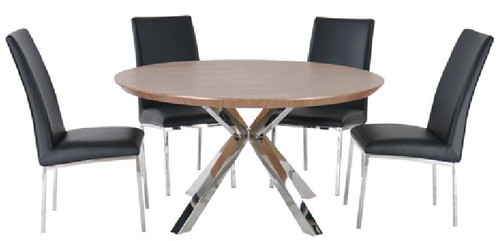NORDIC 5 PIECE ROUND DINING SETTING - 1200(D) - STAINLESS FRAME /  WALNUT VENEER TOP