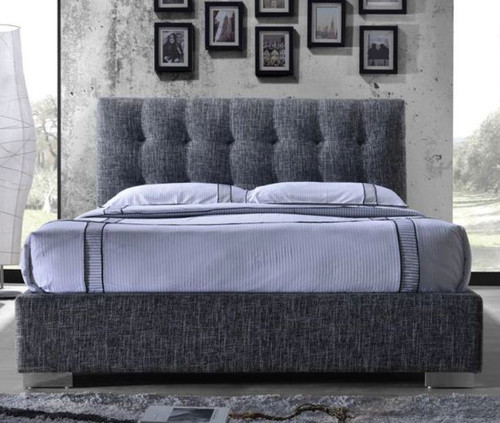 QUEEN JAG FABRIC BED - BLACK / WHITE FINISH