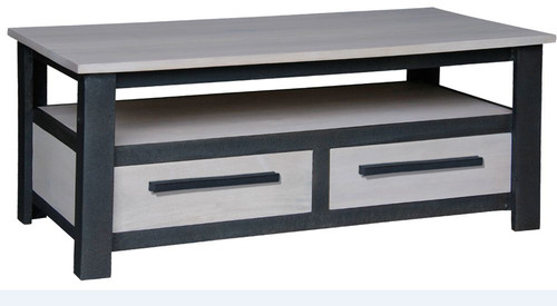 DAVIS 2 DRAWER COFFEE  TABLE (CT 002DVS) -  450(H) X 1100(W) X 600(D)- IRON ANTIQUE WASHED